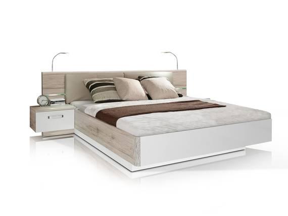 ROMANA Bettanlage 180x200 cm, Material Dekorspanplatte, sandeichefarbig/weiss ohne Bettbank DETAIL_IMAGE