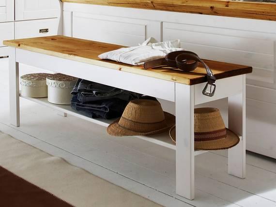 ROMAN Bank / Sitzbank 140x35 cm, Material Massivholz, Kiefer weiss gewachst/honigfarbig DETAIL_IMAGE
