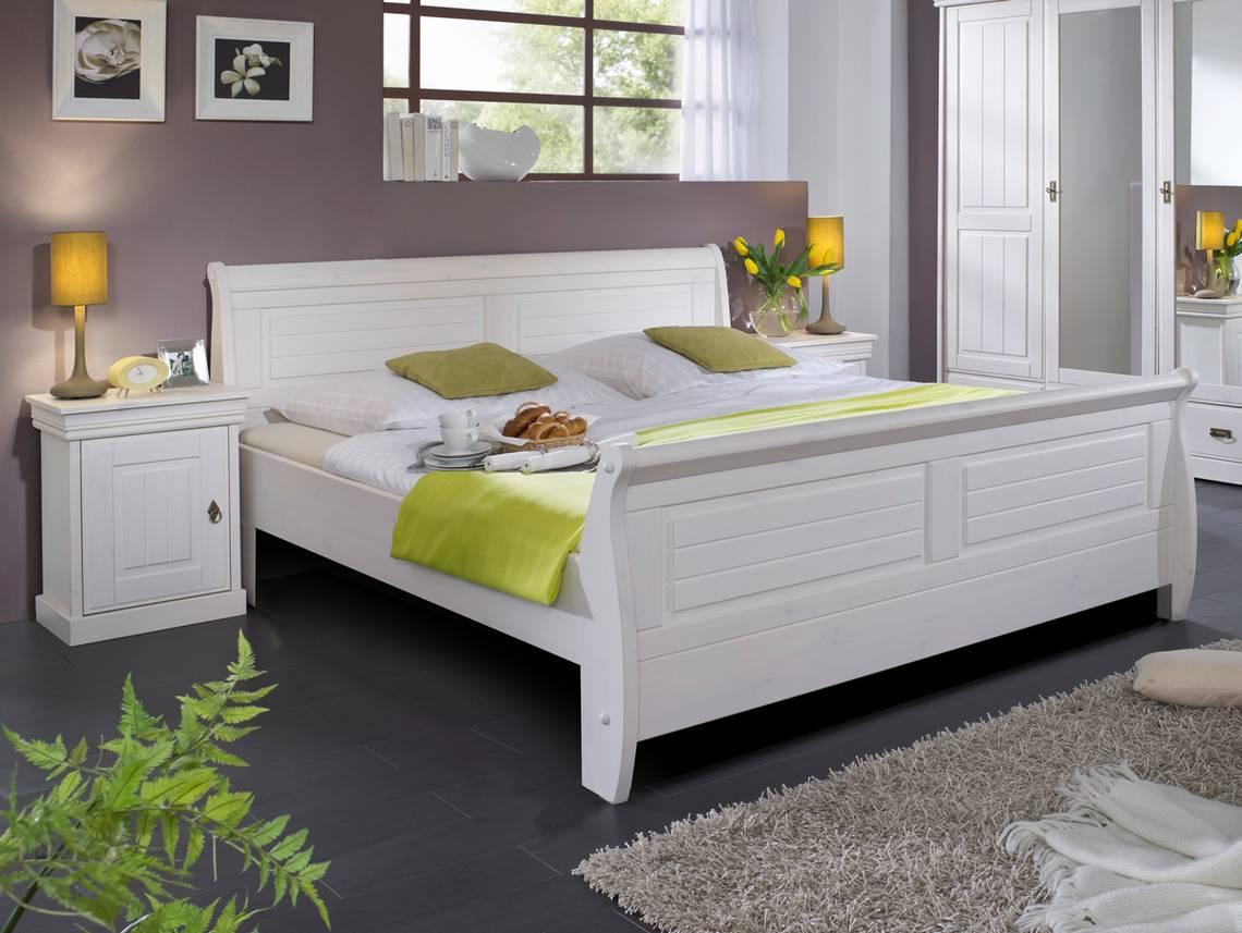 roman massivholzbett kiefer wei 100 x 200 weiss gewachst ohne bettkasten. Black Bedroom Furniture Sets. Home Design Ideas