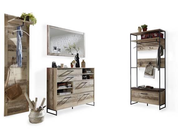 RAMINA Garderobenset 4-teilig, Material Dekorspanplatte, Used Style braun/anthrazit  DETAIL_IMAGE