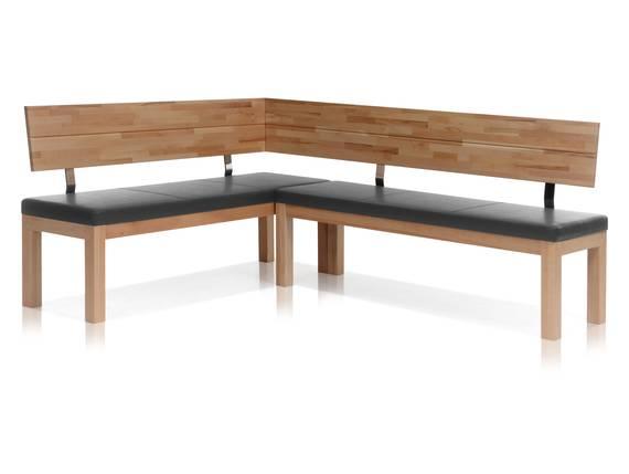 salima eckbank massivholz mit kunstleder bezogen 248 x 171 cm links kernbuche lackiert grau. Black Bedroom Furniture Sets. Home Design Ideas