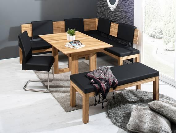 salima eckbank massivholz mit kunstleder bezogen 190 x 150 cm rechts eiche ge lt schwarz. Black Bedroom Furniture Sets. Home Design Ideas