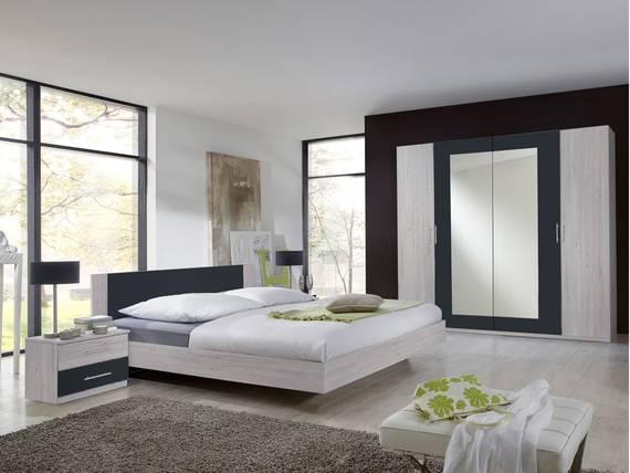 FLORES I Komplett-Schlafzimmer, Material Dekorspanplatte 180 x 200 cm   weisseichefarbig/anthrazit DETAIL_IMAGE
