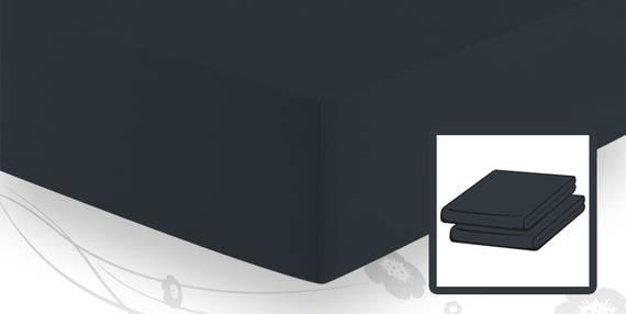 Schlafgut ELASTIC-JERSEY Spannbetttuch/Spannbettlaken 90x220 bis 100x220 schwarz DETAIL_IMAGE