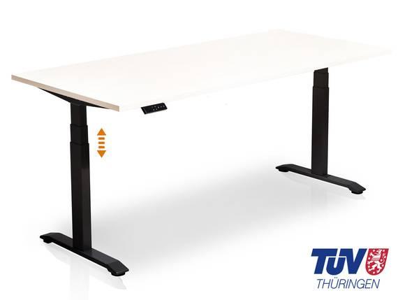 OFFICE ONE elektrisch höhenverstellbarer Schreibtisch / Stehtisch, Material Dekorspanplatte 120x80 cm | weiss | schwarz DETAIL_IMAGE