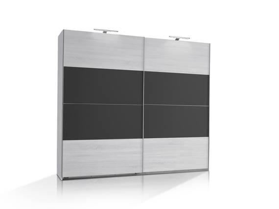 flores schwebet renschrank wei eiche anthrazit 225 cm. Black Bedroom Furniture Sets. Home Design Ideas