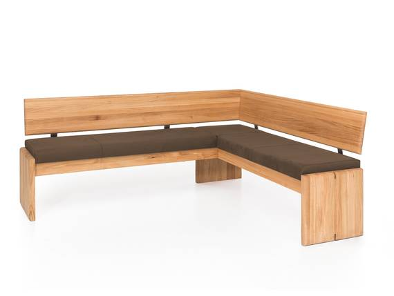 SCOTT Eckbank mit Truhe, Material Massivholz/Bezug Kunstleder Kernbuche | 167 x 147 cm | nougat   DETAIL_IMAGE