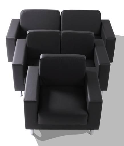 SUSI 3-2-1 Sofagarnitur, Material Kunstleder schwarz DETAIL_IMAGE