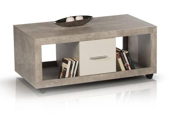 STELLA Couchtisch, Material Dekorspanplatte, betongrau/weiss  DETAIL_IMAGE