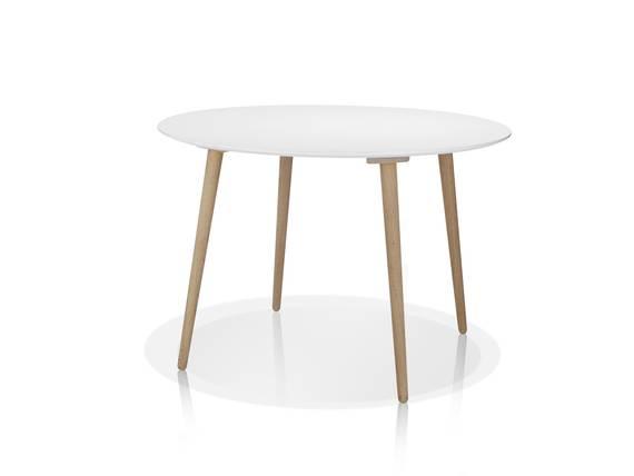 STEVEN Esstisch rund Durchmesser 110 cm, Material MDF/Massivholz weiss DETAIL_IMAGE