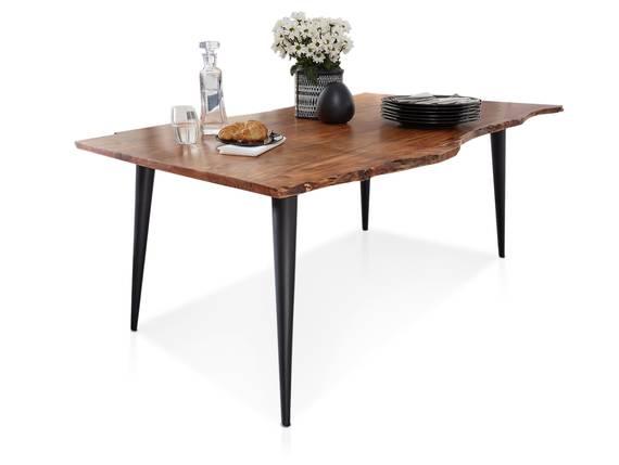 STRASSBURG Esstisch, Material Massivholz, Akazie/Fuß schwarz 160 x 90 cm DETAIL_IMAGE