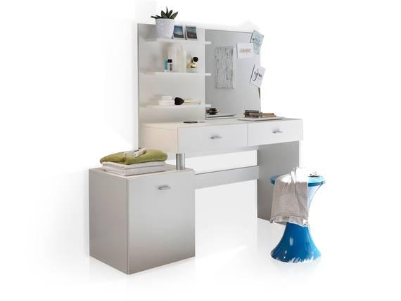 SVENJA Schminktisch mit Spiegel und Ablagen, Material Dekorspanplatte, weiss  DETAIL_IMAGE