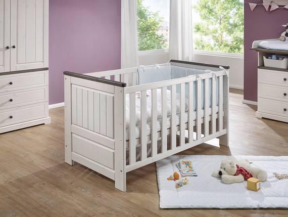 TINKA Babybett 70x140 cm, Material Massivholz, Kiefer weiss/grau  DETAIL_IMAGE