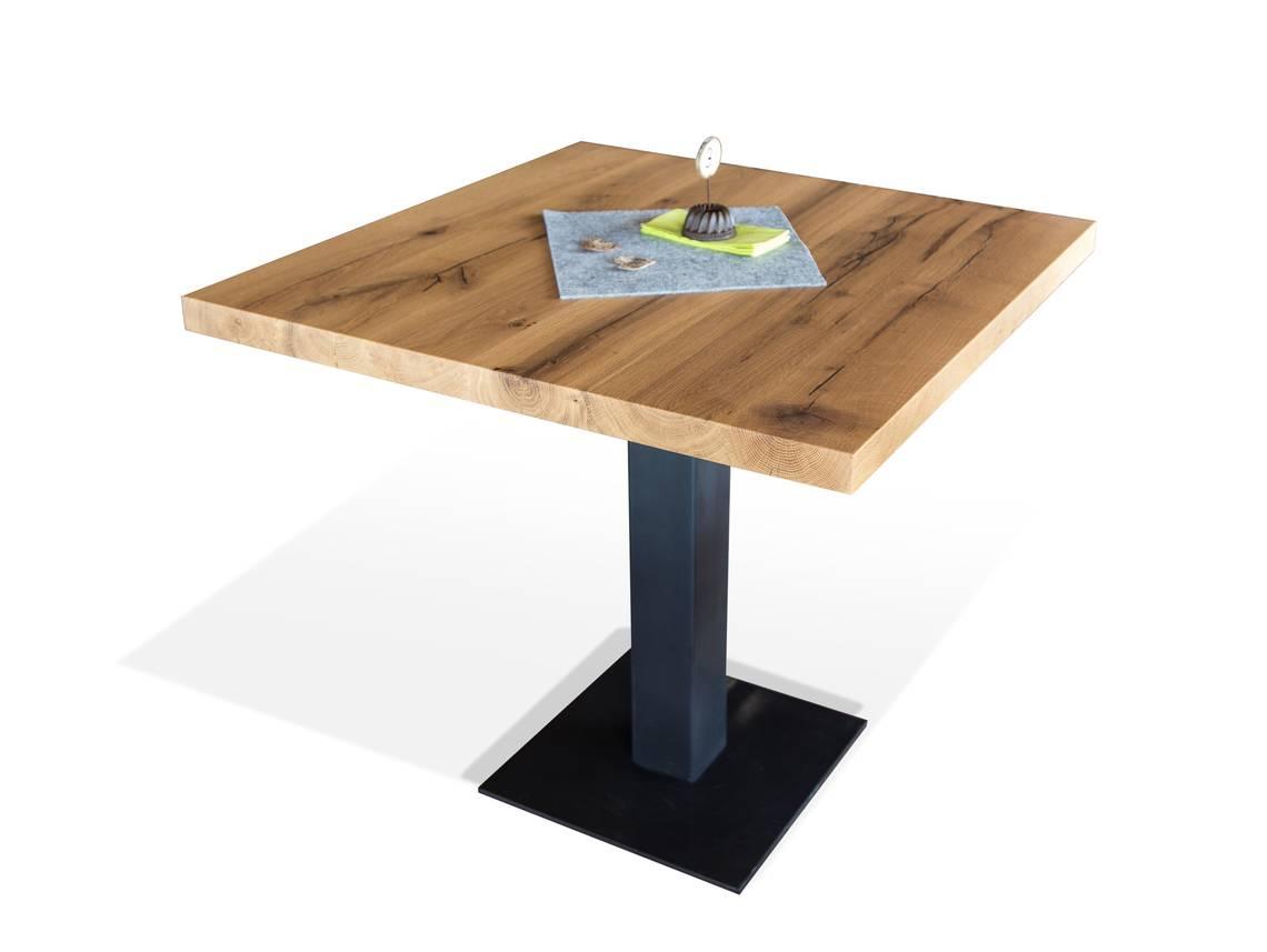 gastro bistrotisch material massivholz eiche lackiert 100 x 100 cm