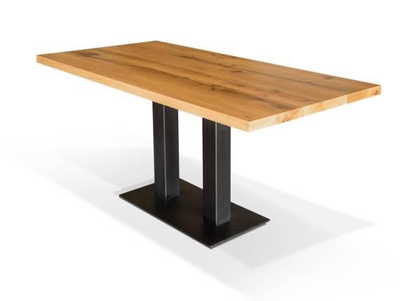 GASTRO Esstisch, Material Massivholz/Metall, Eiche lackiert 160 x 80 cm DETAIL_IMAGE