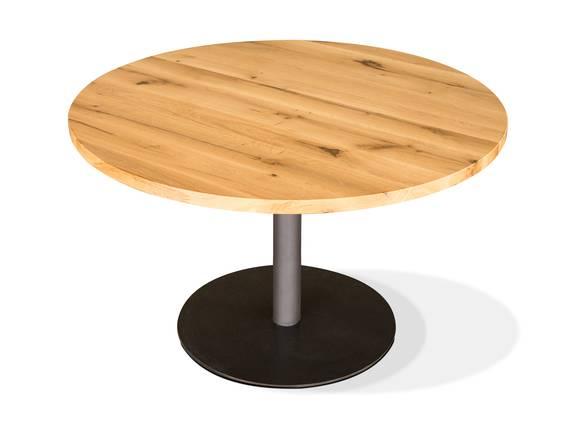 GASTRO Esstisch rund, Material Massivholz/Metall, Eiche lackiert 100 cm DETAIL_IMAGE