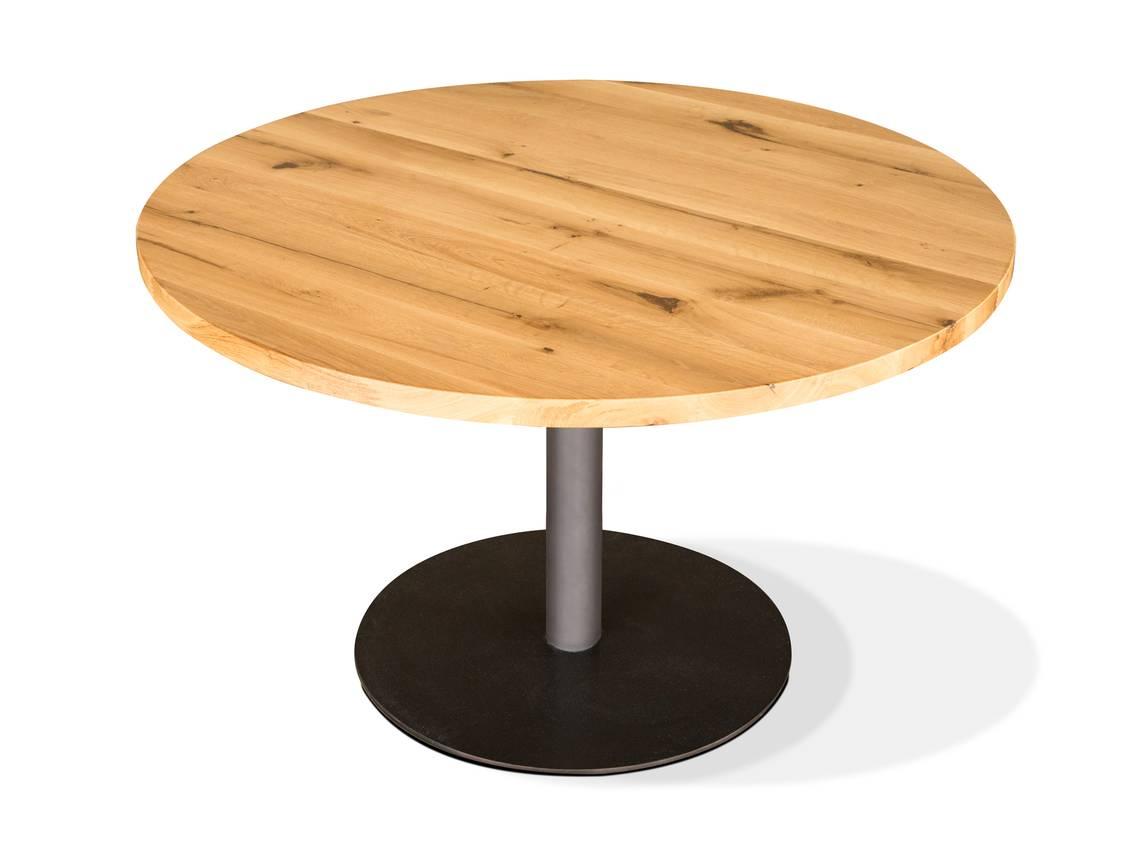 gastro esstisch rund eiche lackiert 100 cm. Black Bedroom Furniture Sets. Home Design Ideas