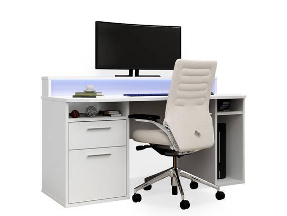 TEZO III Gaming Schreibtisch, Material Dekorspanplatte, weiss matt, inklusive LED-Beleuchtung  DETAIL_IMAGE