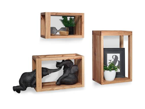 MARITA Wandregal 3er Set, Material Massivholz, Wildeiche geölt  DETAIL_IMAGE