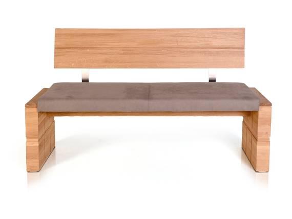 WOOD Sitzbank mit Rücken und massivem Gestell 130 cm | Eiche bianco | taupe DETAIL_IMAGE