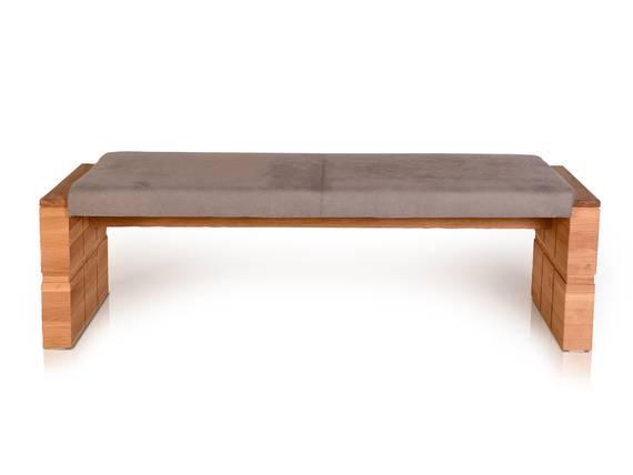 WOOD Sitzbank ohne Rücken mit hochwertigen Bezug, Material Kunstfaser/Massivholz 130 cm | Eiche | taupe DETAIL_IMAGE