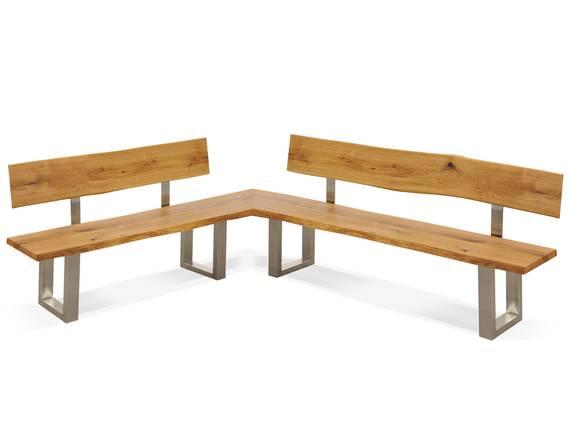 ZADAR Eckbank mit Rückenlehne und Baumkante, Material Massivholz / Edelstahl, Wildeiche 130 x 200 cm DETAIL_IMAGE