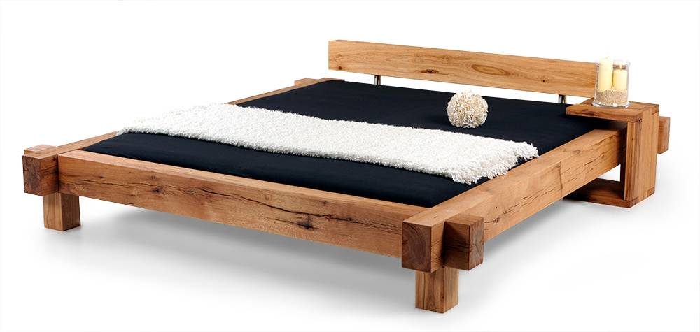 Balkenbett sumpfeiche  MAMMUT Doppelbett Massivholzbett Holzbett Bett Schlafzimmer ...