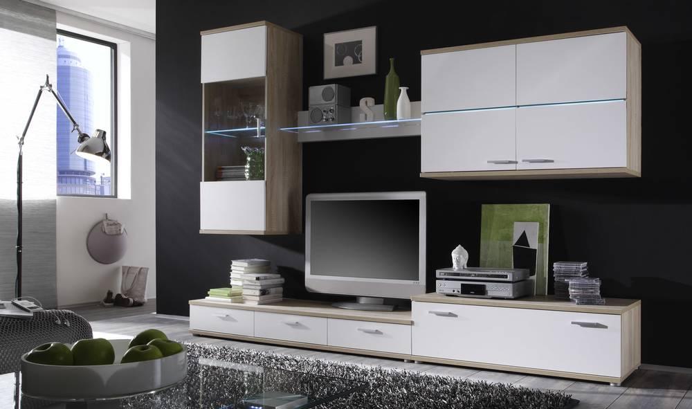 Adela wohnwand wohnzimmerwand moderne preiswerte anbauwand for Preiswerte jugendzimmer