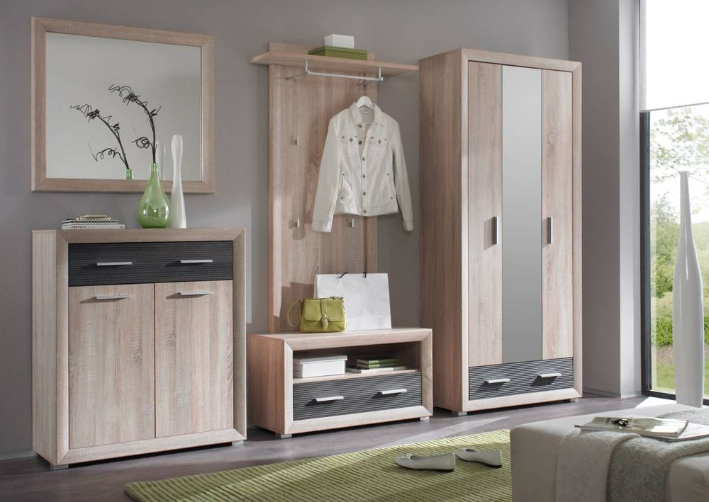 brandy garderobenschrank kleiderschrank eiche sonoma pinie dunkel. Black Bedroom Furniture Sets. Home Design Ideas