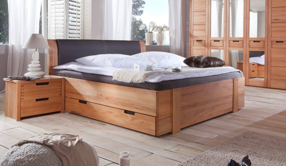 stanford doppelbett teilmassives bett inkl kopfpolster und bettkasten 180 x 200 cm. Black Bedroom Furniture Sets. Home Design Ideas