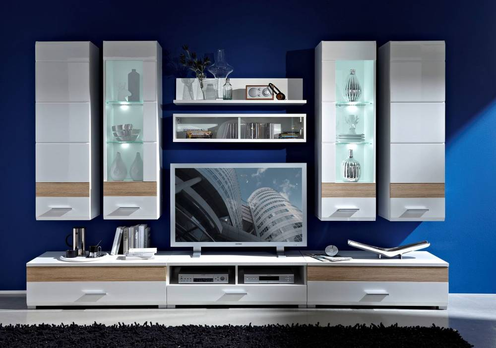 happyness h ngevitrine anschlag links wei sonoma eiche. Black Bedroom Furniture Sets. Home Design Ideas