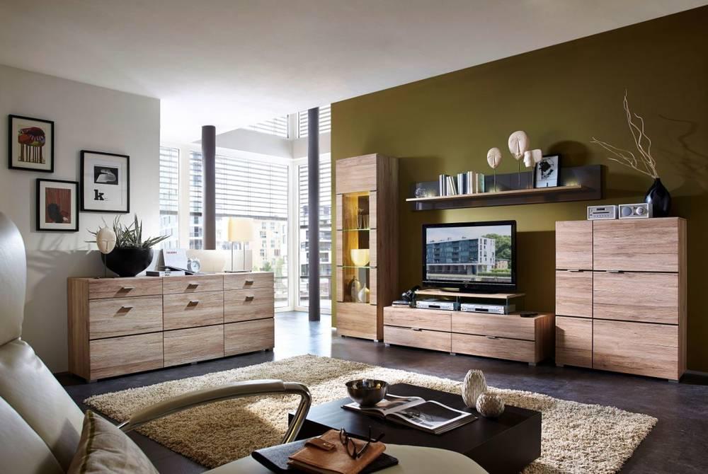 feodora wohnwand anbauwand eiche san remo. Black Bedroom Furniture Sets. Home Design Ideas