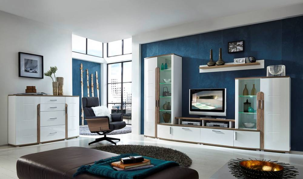 scotch wohnwand wei san remo eiche dunkel. Black Bedroom Furniture Sets. Home Design Ideas