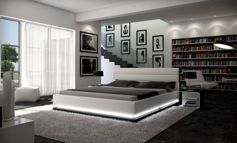 ripani lederbett polsterbett doppelbett weiss. Black Bedroom Furniture Sets. Home Design Ideas