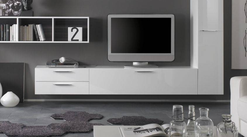lowboard h ngend tv unterteil wei hochglanz lack modell. Black Bedroom Furniture Sets. Home Design Ideas