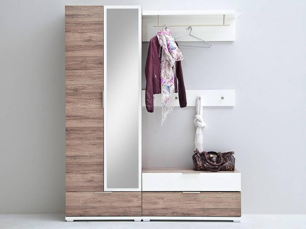 Komplett garderobe canu iii eiche rustika weiss for Garderobe komplett programme