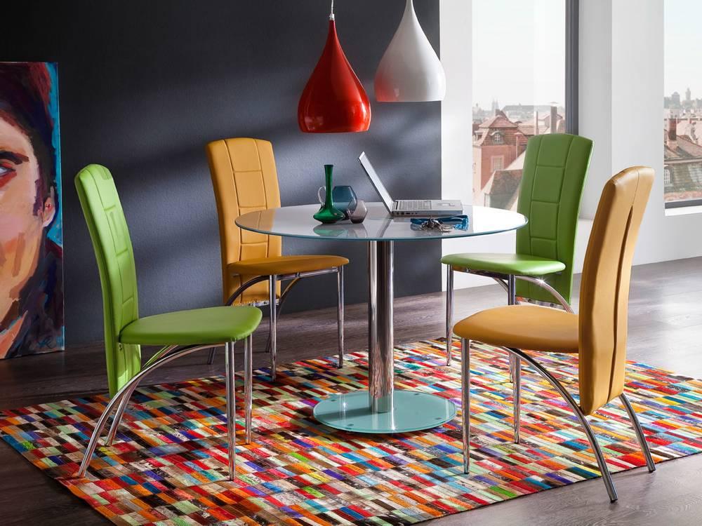 fea tisch rund 100 cm glas wei. Black Bedroom Furniture Sets. Home Design Ideas