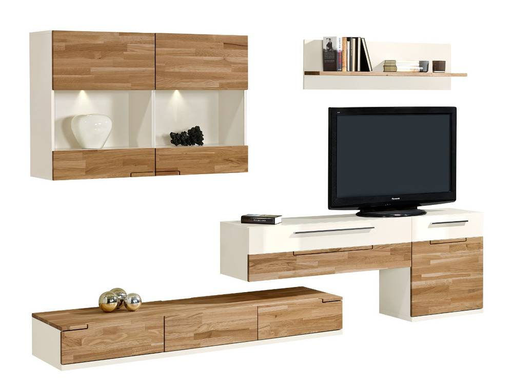 arte m feel wohnwand anbauwand ii weiss eiche. Black Bedroom Furniture Sets. Home Design Ideas