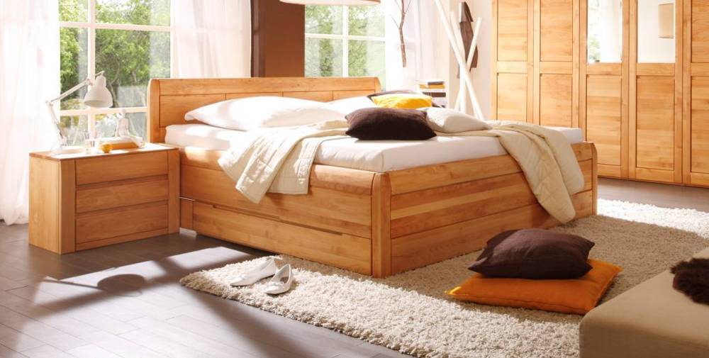 gamma massivholzbett doppelbett bett erle massiv ge lt 180x200 mit bettkasten ebay. Black Bedroom Furniture Sets. Home Design Ideas
