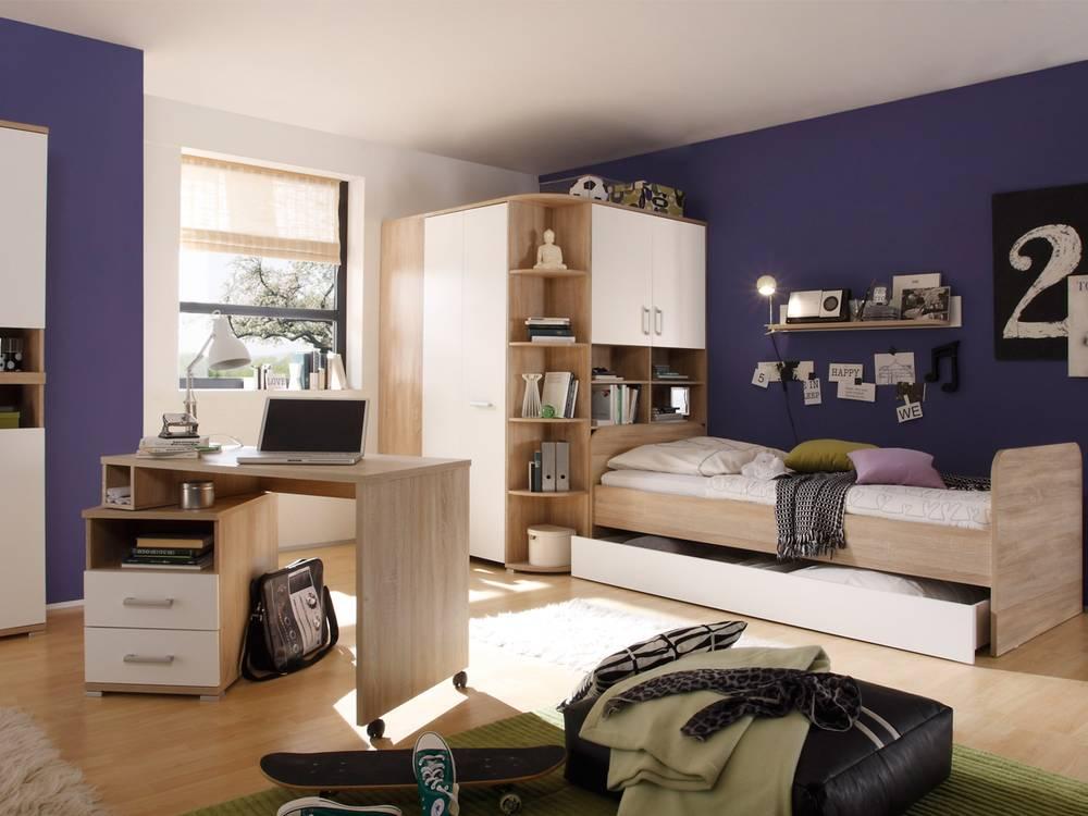 casper bett 90x200 eiche sonoma wei. Black Bedroom Furniture Sets. Home Design Ideas