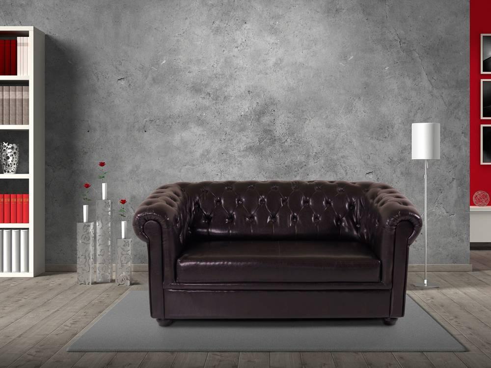 chesterfield 2er sofa polstersofa antikbraun. Black Bedroom Furniture Sets. Home Design Ideas