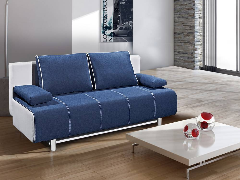 inka schlafsofa schlafcouch weiss blau. Black Bedroom Furniture Sets. Home Design Ideas