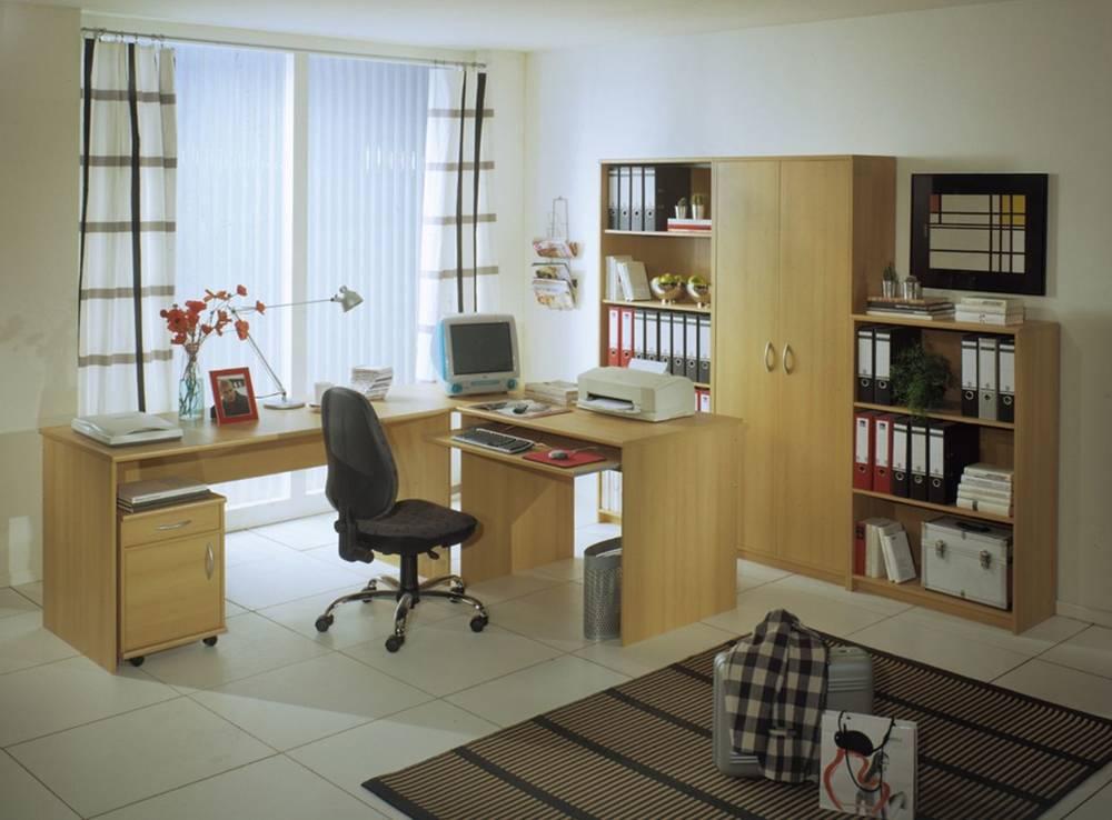 eckschreibtisch b ro b rotisch schreibtisch arbeitstisch office compact buche ebay. Black Bedroom Furniture Sets. Home Design Ideas
