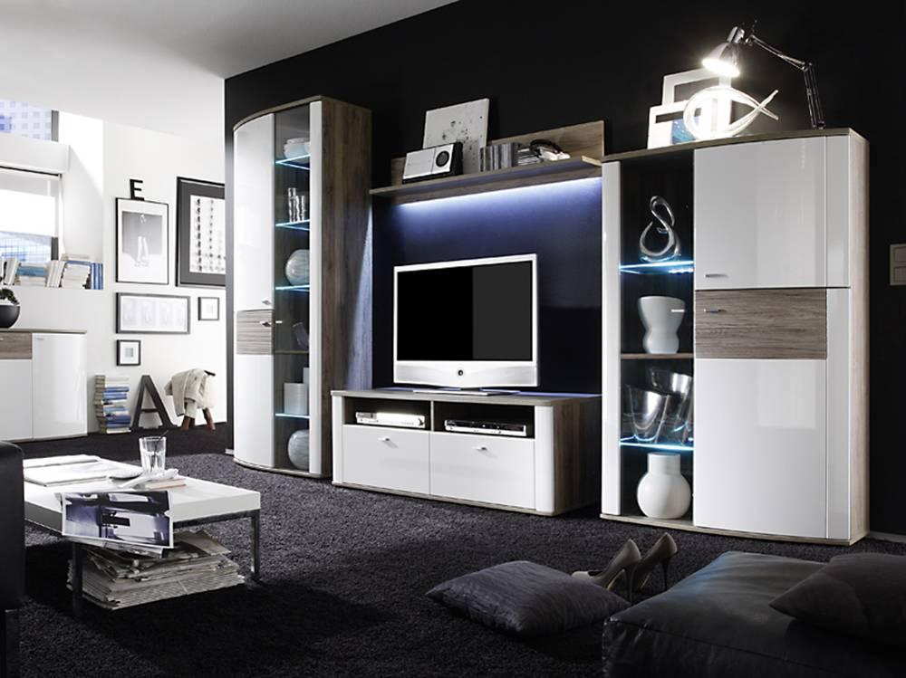 malina wohnwand i wei san remo eiche. Black Bedroom Furniture Sets. Home Design Ideas