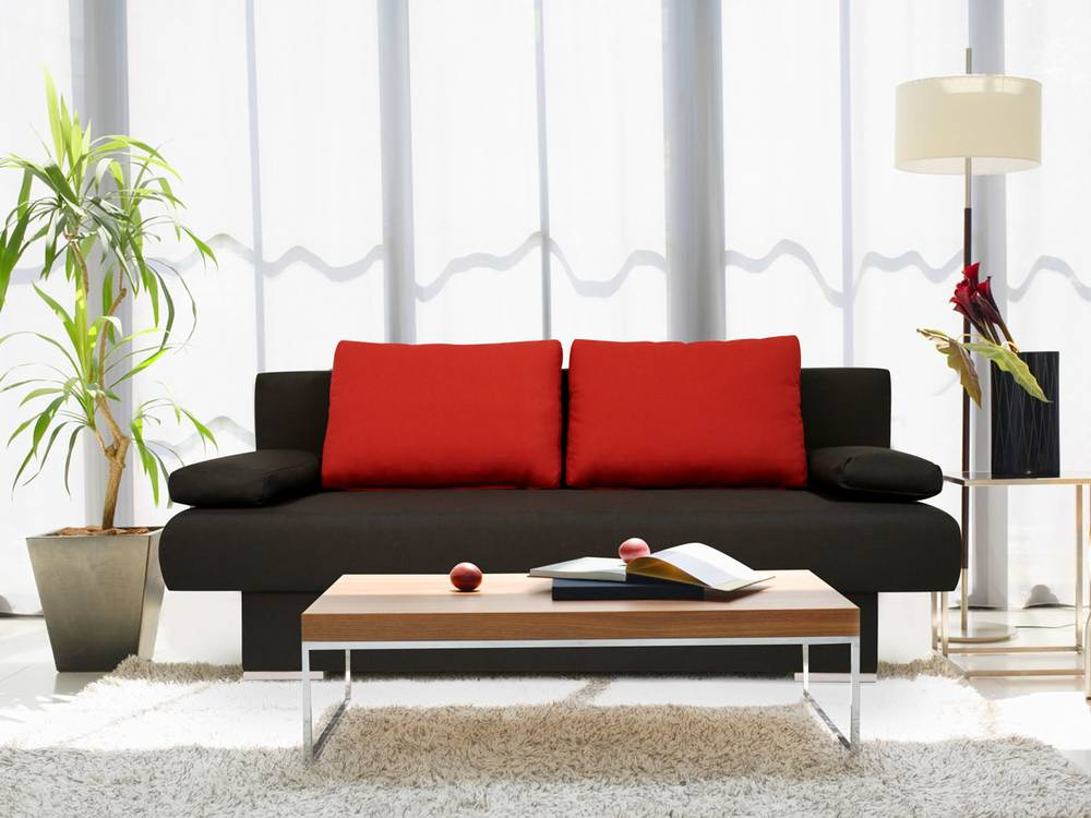 mike schlafsofa schlafcouch sofa couch stoffbezug schwarz rot mit schlaffunktion ebay. Black Bedroom Furniture Sets. Home Design Ideas