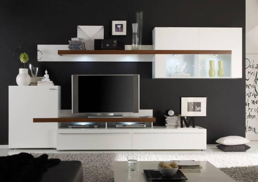 peaches ii wohnwand anbauwand tv wand schrankwand regalwand wei oder schwarz ebay - Stylische Wohnwand