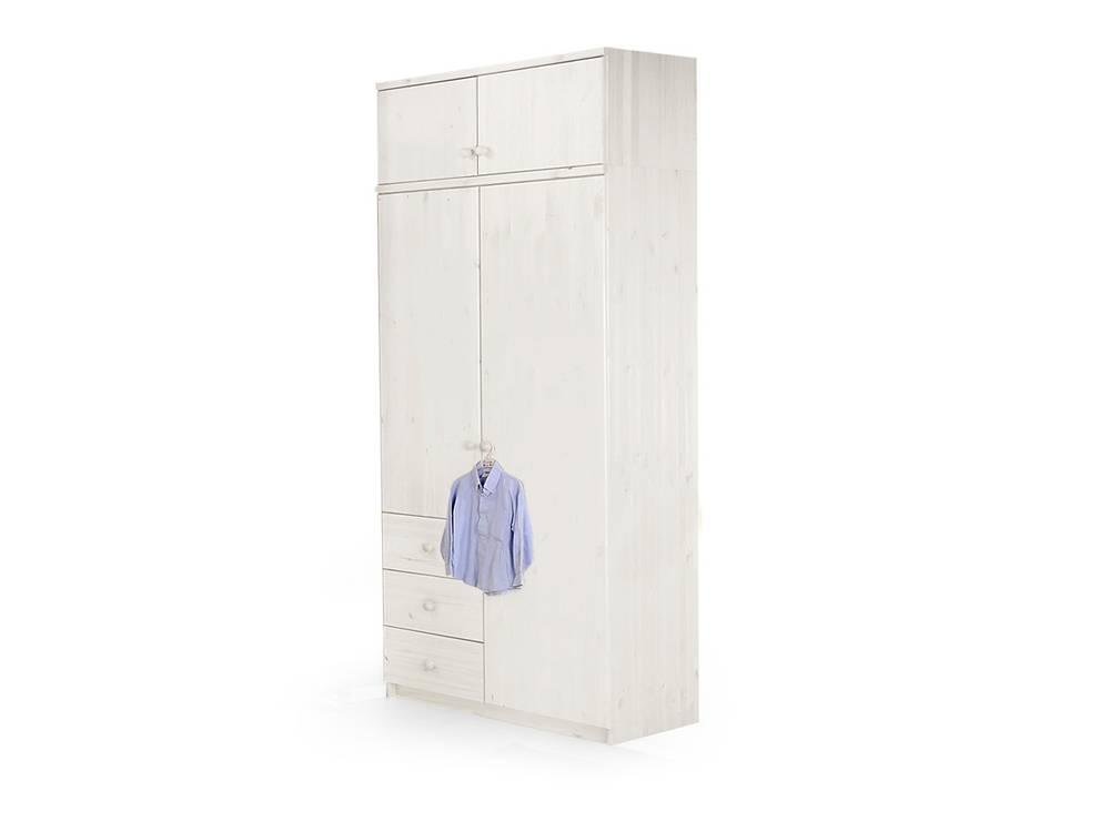 yogi massivholz kleiderschrank 2 t rig kiefer wei. Black Bedroom Furniture Sets. Home Design Ideas