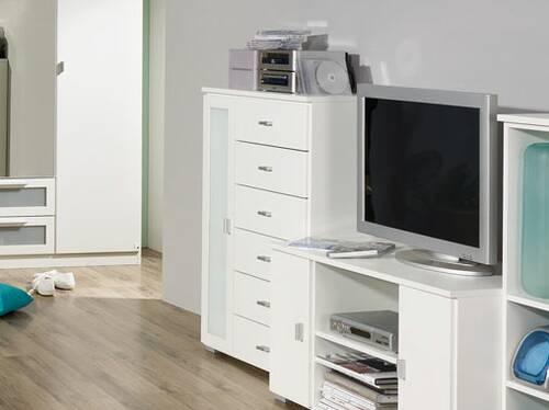 COOKIE Tür-/Schubelement klein 1 Tür und 6 Schubkasten rechts | Alpinweiss/grau DETAIL_IMAGE 2
