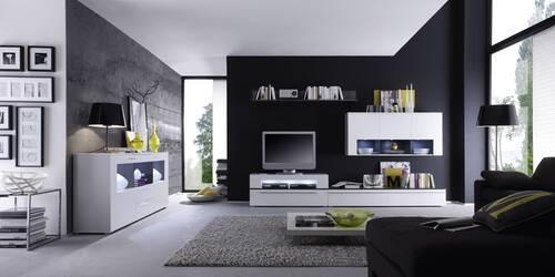 Elegantes Sideboard COSMA inklusive Beleuchtung Anthrazit/weiß matt DETAIL_IMAGE 2