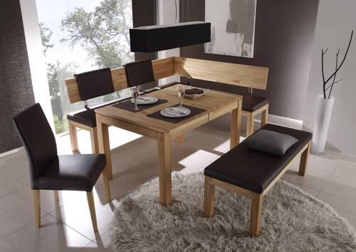 SALIMA Sitzbank/Massivholzbank 130 cm | Kernbuche | geölt | Echtleder schwarz | ohne Rücken DETAIL_IMAGE 2